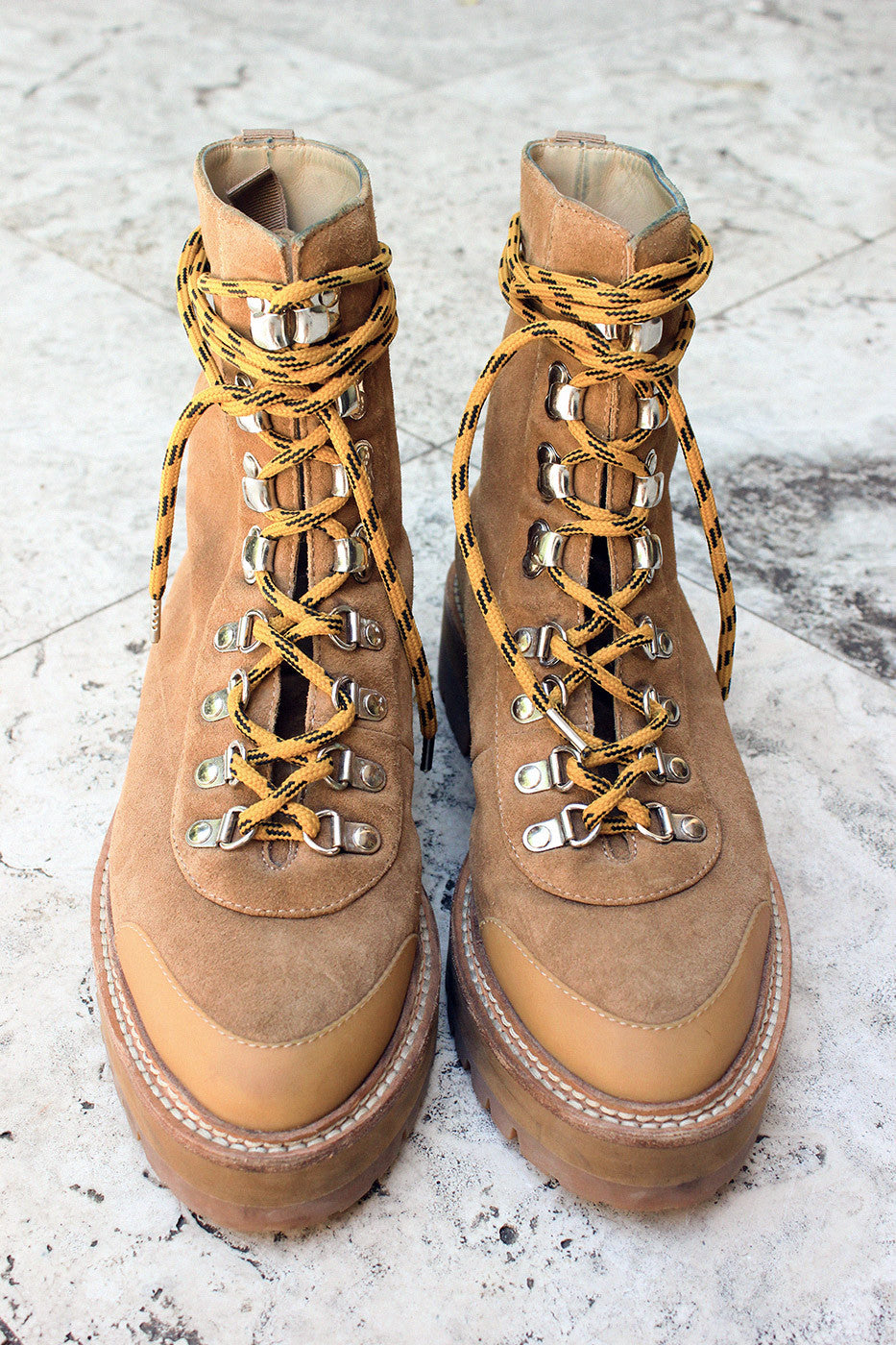 "Vintage Off-White ""Pointed Toe"" Hiking Boots"