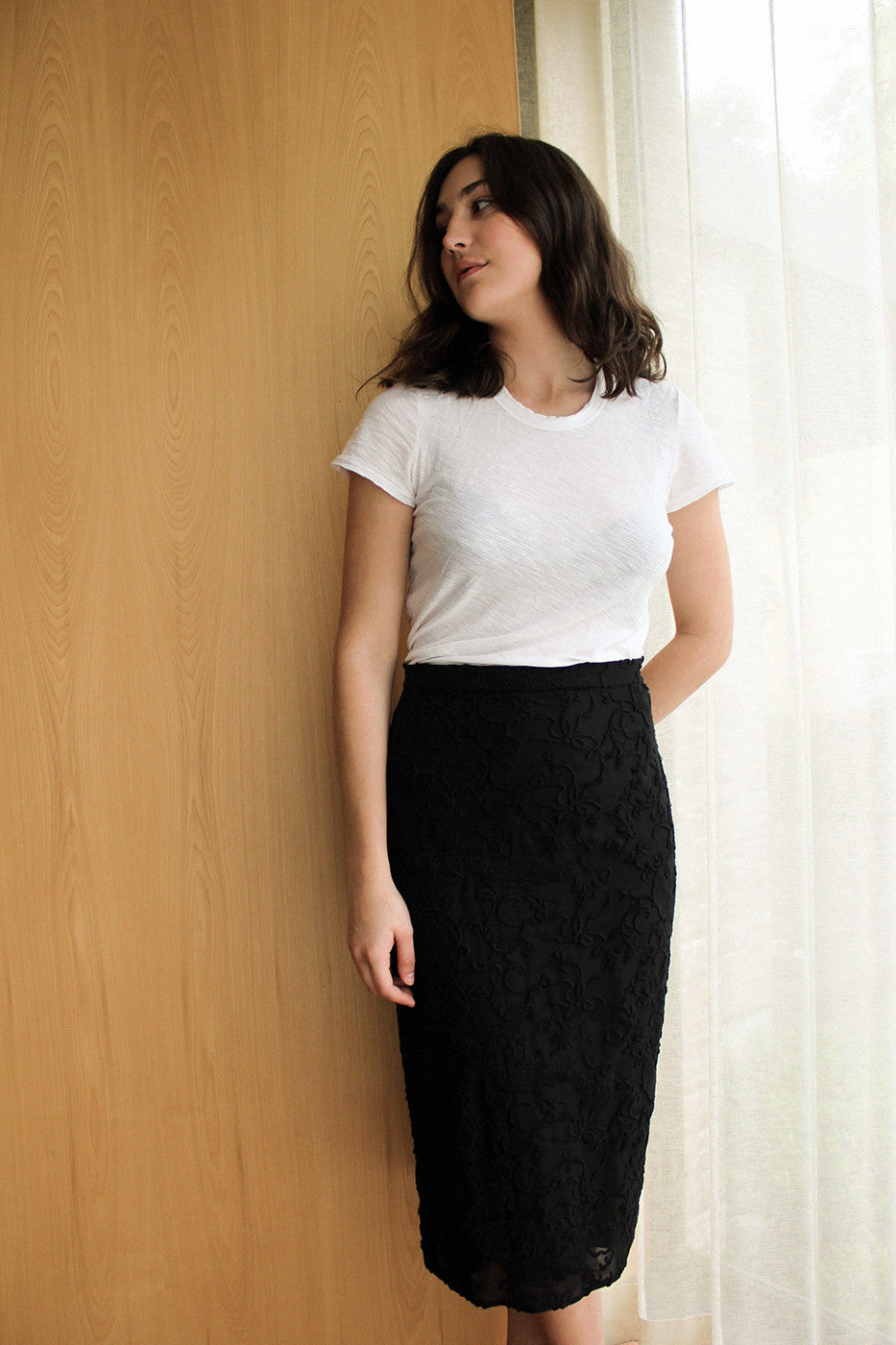 Vintage No.21 Sheer Black and Embroidered Skirt