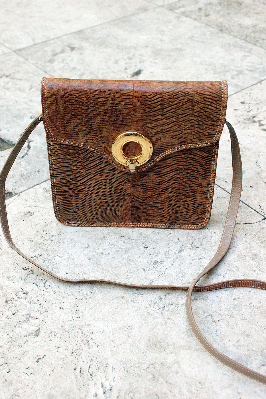 Brown Vintage Snake Skin Purse