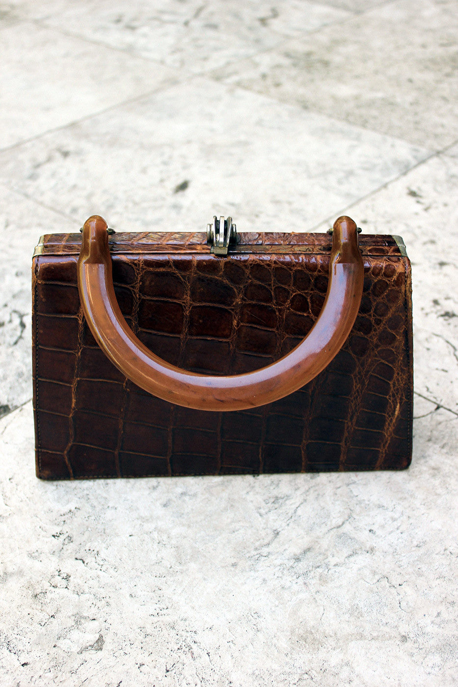 Vintage 1940s Genuine Crocodile Skin Handbag with Bakelite Handle