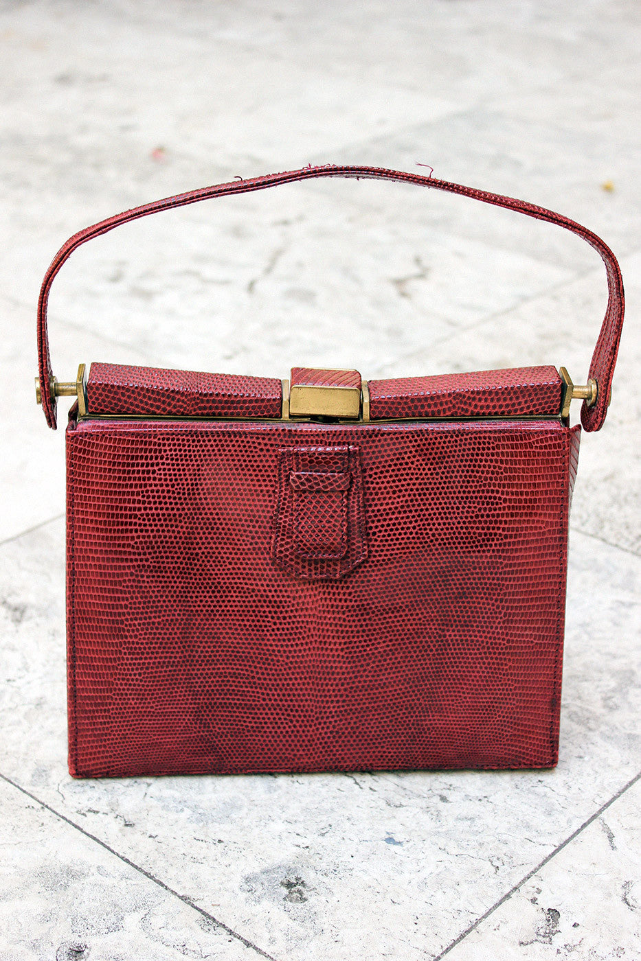 Vintage 1940s Red Lizard Skin Bag