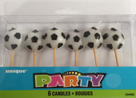 Pack of 6 Soccer Ball Candles