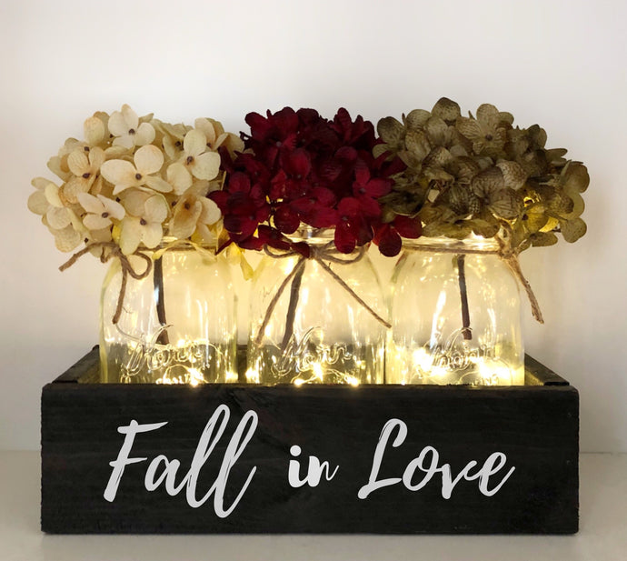 Fall in Love Lighted Mason Jar Centerpiece