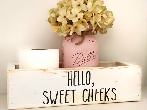 Hello Sweet Cheeks Toilet Paper Holder, Rae Dunn Inspired - stacys-country-designs