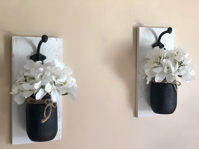 Painted Mason Jar Sconces, Set of 2