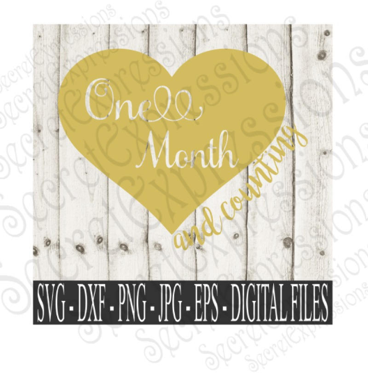 One Month and Counting Svg, Digital File, SVG, DXF, EPS, Png, Jpg, Cricut, Silhouette, Print File