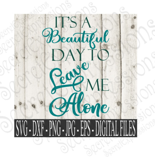 It's a Beautiful Day to Leave Me Alone SVG, Digital File, SVG, DXF, EPS, Png, Jpg, Cricut, Silhouette, Print File