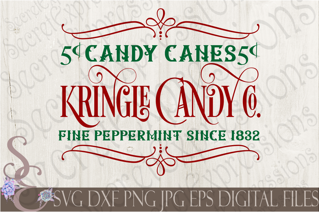 Kringle Candy Co. Svg, Christmas Digital File, SVG, DXF, EPS, Png, Jpg, Cricut, Silhouette, Print File