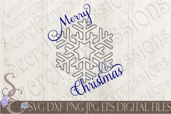 Merry Christmas Snowflake Svg, Christmas Digital File, SVG, DXF, EPS, Png, Jpg, Cricut, Silhouette, Print File