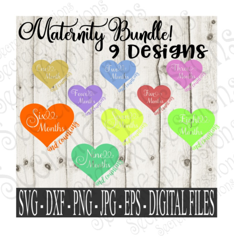 Maternity SVG Bundle, Digital File, SVG, DXF, EPS, Png, Jpg, Cricut, Silhouette, Print File