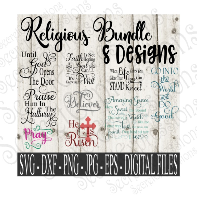 Religious SVG Bundle, Digital File, SVG, DXF, EPS, Png, Jpg, Cricut, Silhouette, Print File