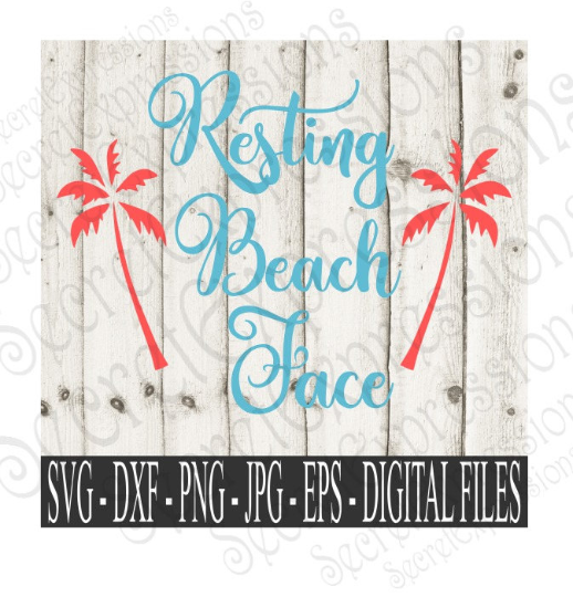 Resting Beach Face SVG, Digital File, SVG, DXF, EPS, Png, Jpg, Cricut, Silhouette, Print File