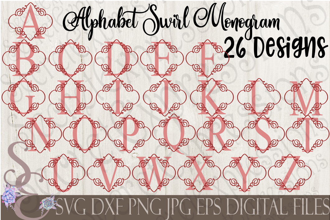 Swirl Alphabet SVG Bundle, 5 Digital File, SVG, DXF, EPS, Png, Jpg, Cricut, Silhouette, Print File