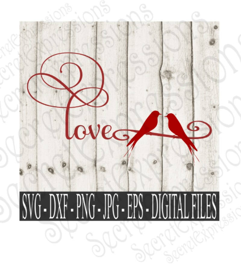 Two Birds on a Wire Svg, Love Birds, Valentine's Day, Digital File, SVG, DXF, EPS, Png, Jpg, Cricut, Silhouette, Print File