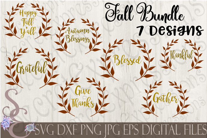 Fall SVG Bundle, 7 Digital File, SVG, DXF, EPS, Png, Jpg, Cricut, Silhouette, Print File
