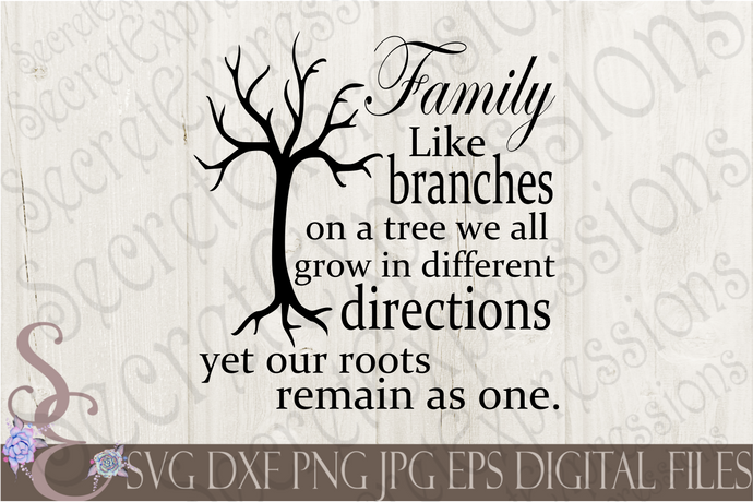 Family Like branches on a tree Svg, Digital File, SVG, DXF, EPS, Png, Jpg, Cricut, Silhouette, Print File