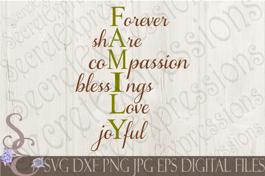 Family Svg, Forever Share Compassion Blessings Love Joyful, Digital File, SVG, DXF, EPS, Png, Jpg, Cricut, Silhouette, Print File