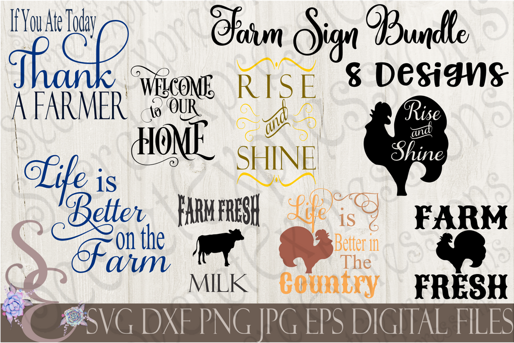 Farm Sign SVG Bundle, Religious Digital File, SVG, DXF, EPS, Png, Jpg, Cricut, Silhouette, Print File
