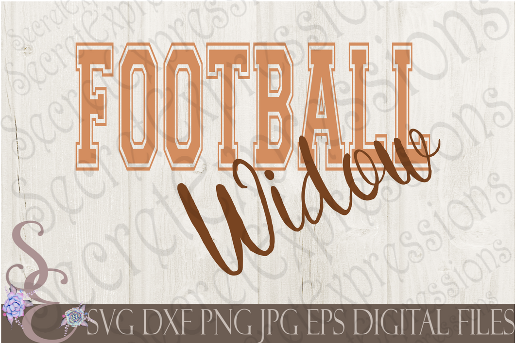 Football Widow Svg, Digital File, SVG, DXF, EPS, Png, Jpg, Cricut, Silhouette, Print File