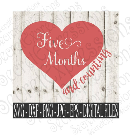 Five Month and Counting Svg, Digital File, SVG, DXF, EPS, Png, Jpg, Cricut, Silhouette, Print File