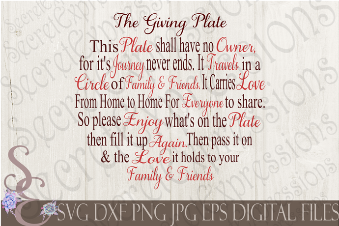 The Giving Plate Svg, Digital File, SVG, DXF, EPS, Png, Jpg, Cricut, Silhouette, Print File