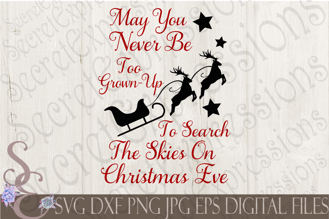 Search the skies on Christmas Eve Svg, Christmas Digital File, SVG, DXF, EPS, Png, Jpg, Cricut, Silhouette, Print File