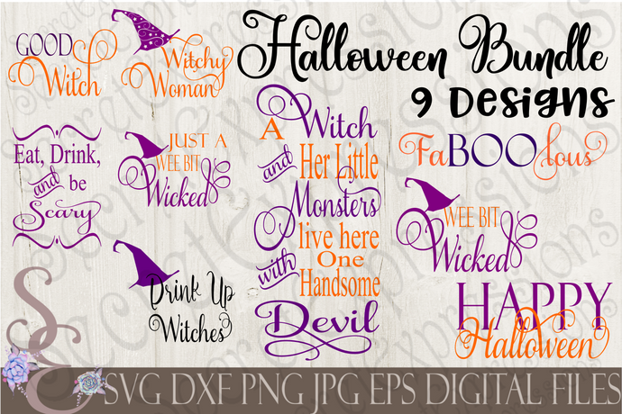 Halloween SVG Bundle, 9 Digital File, SVG, DXF, EPS, Png, Jpg, Cricut, Silhouette, Print File