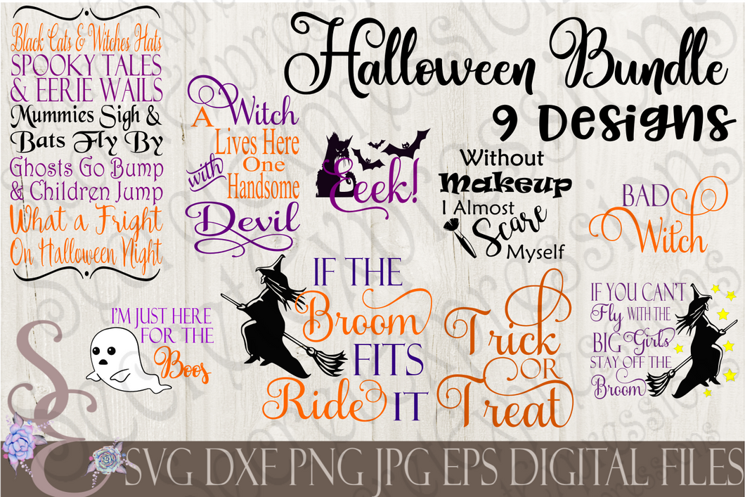 Halloween Bundle SVG, 9 Digital File, SVG, DXF, EPS, Png, Jpg, Cricut, Silhouette, Print File
