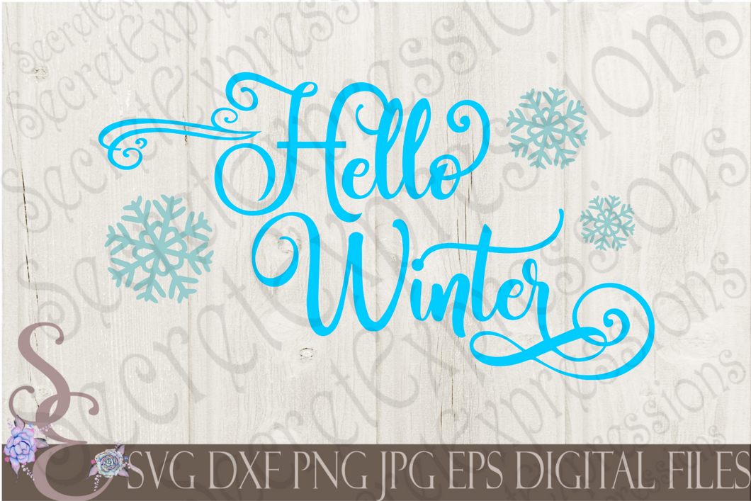 Hello Winter Svg, Christmas Digital File, SVG, DXF, EPS, Png, Jpg, Cricut, Silhouette, Print File