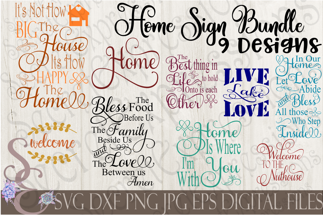 Home Sign SVG Bundle, Religious Digital File, SVG, DXF, EPS, Png, Jpg, Cricut, Silhouette, Print File
