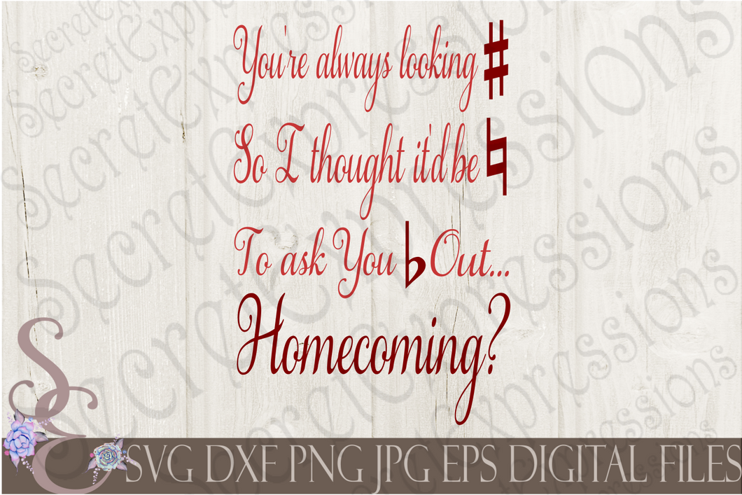 Homecoming Music Proposal Svg, Digital File, SVG, DXF, EPS, Png, Jpg, Cricut, Silhouette, Print File