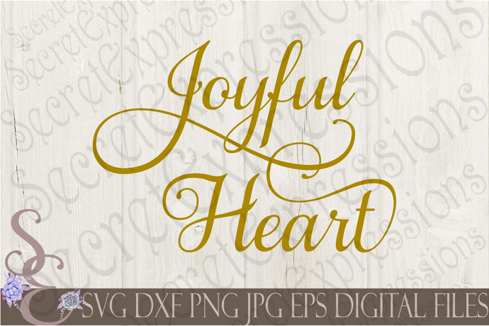 Joyful Heart Svg, Digital File, SVG, DXF, EPS, Png, Jpg, Cricut, Silhouette, Print File