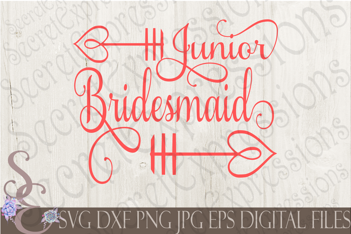 Junior Bridesmaid Svg, Wedding, Digital File, SVG, DXF, EPS, Png, Jpg, Cricut, Silhouette, Print File