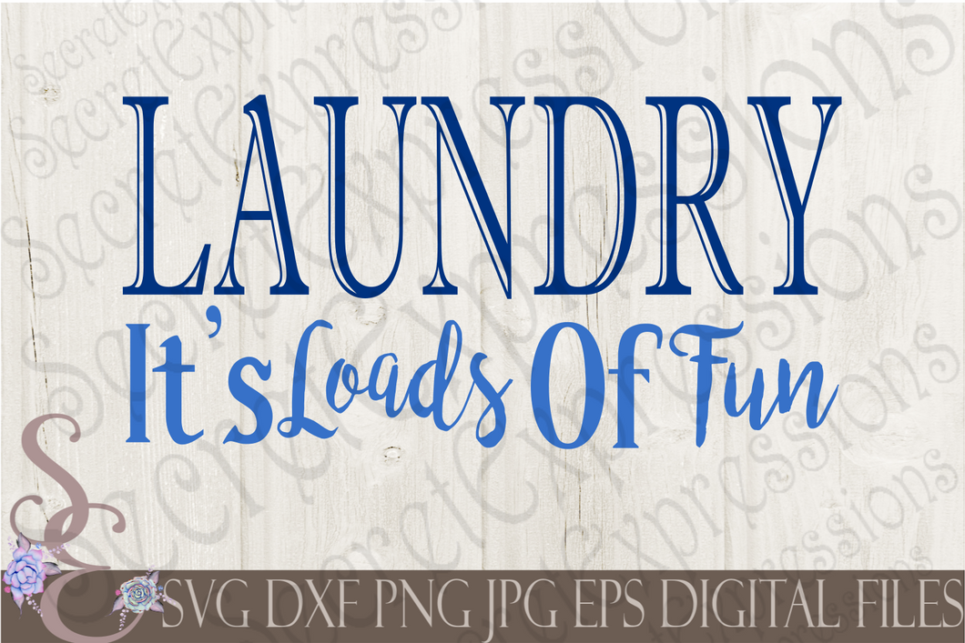 Laundry It's Loads Of Fun Svg, Digital File, SVG, DXF, EPS, Png, Jpg, Cricut, Silhouette, Print File