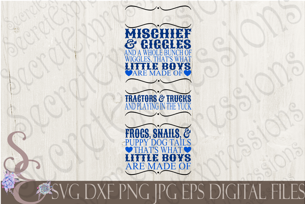 What Little Boys Are Made Of Svg, Digital File, SVG, DXF, EPS, Png, Jpg, Cricut, Silhouette, Print File