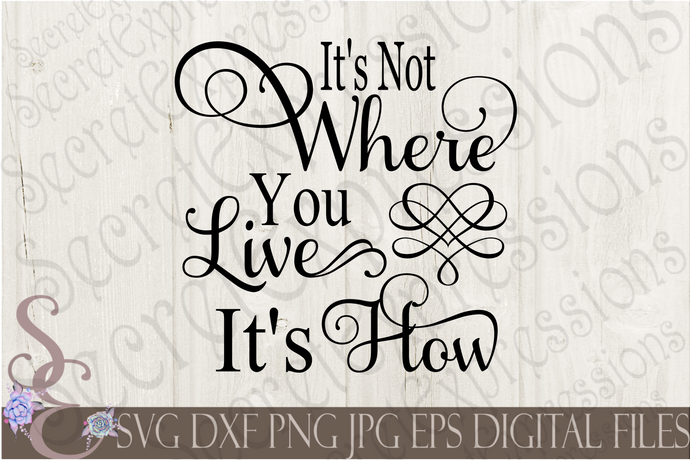 It's Not Where You Live It's How Svg, Digital File, SVG, DXF, EPS, Png, Jpg, Cricut, Silhouette, Print File