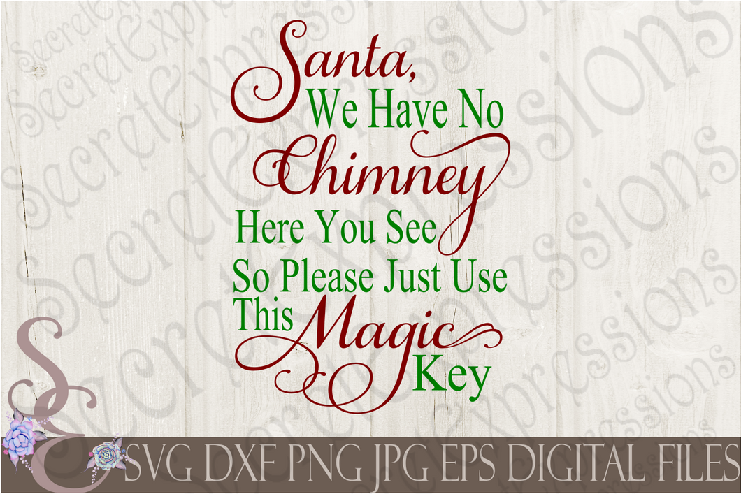 Santa Magic Key Svg, Christmas Digital File, SVG, DXF, EPS, Png, Jpg, Cricut, Silhouette, Print File