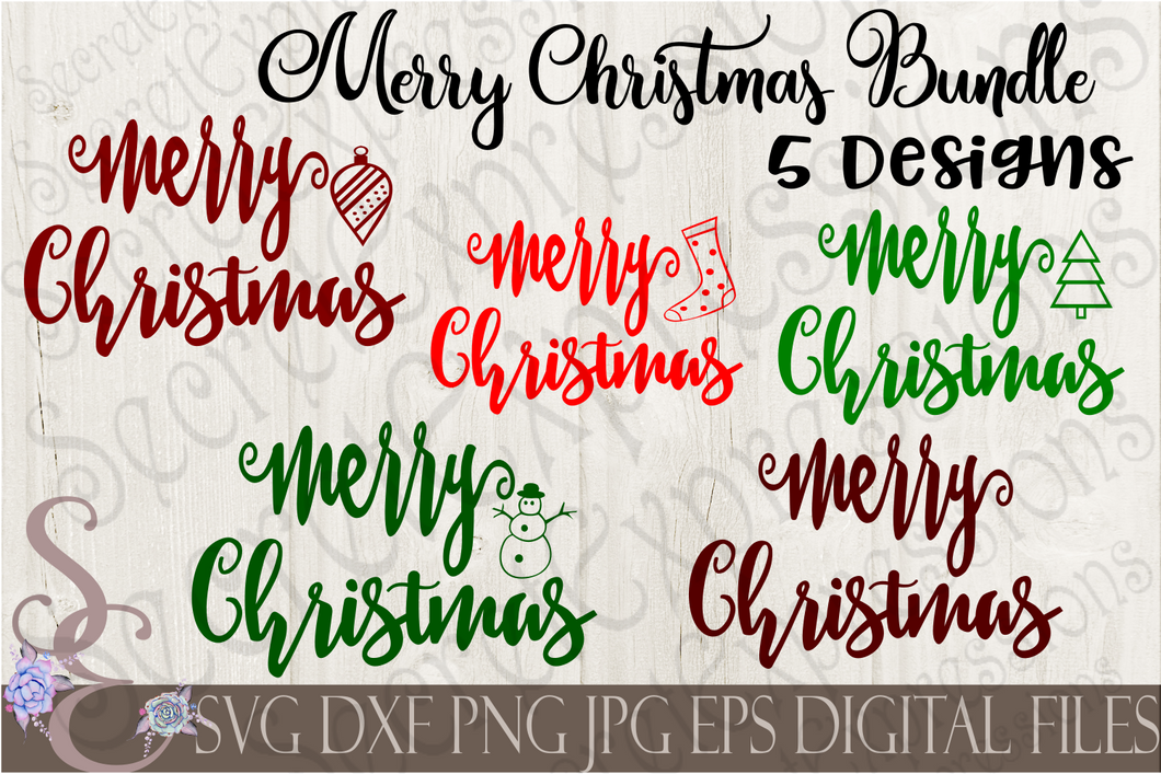 Merry Christmas SVG Bundle, 5 Digital File, SVG, DXF, EPS, Png, Jpg, Cricut, Silhouette, Print File