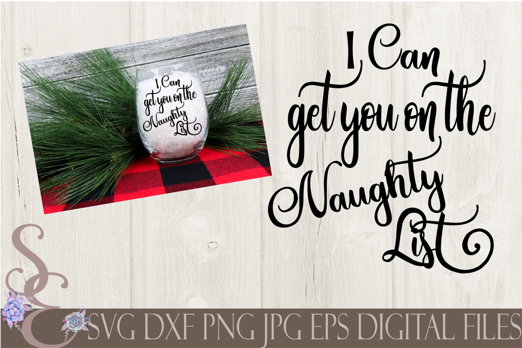 I Can Get You on The Naughty List Svg, Christmas Digital File, SVG, DXF, EPS, Png, Jpg, Cricut, Silhouette, Print File