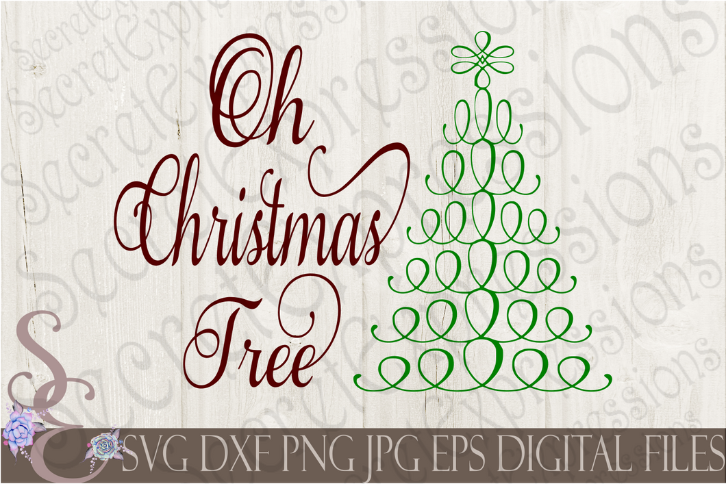 Oh Christmas Tree Svg, Christmas Digital File, SVG, DXF, EPS, Png, Jpg, Cricut, Silhouette, Print File