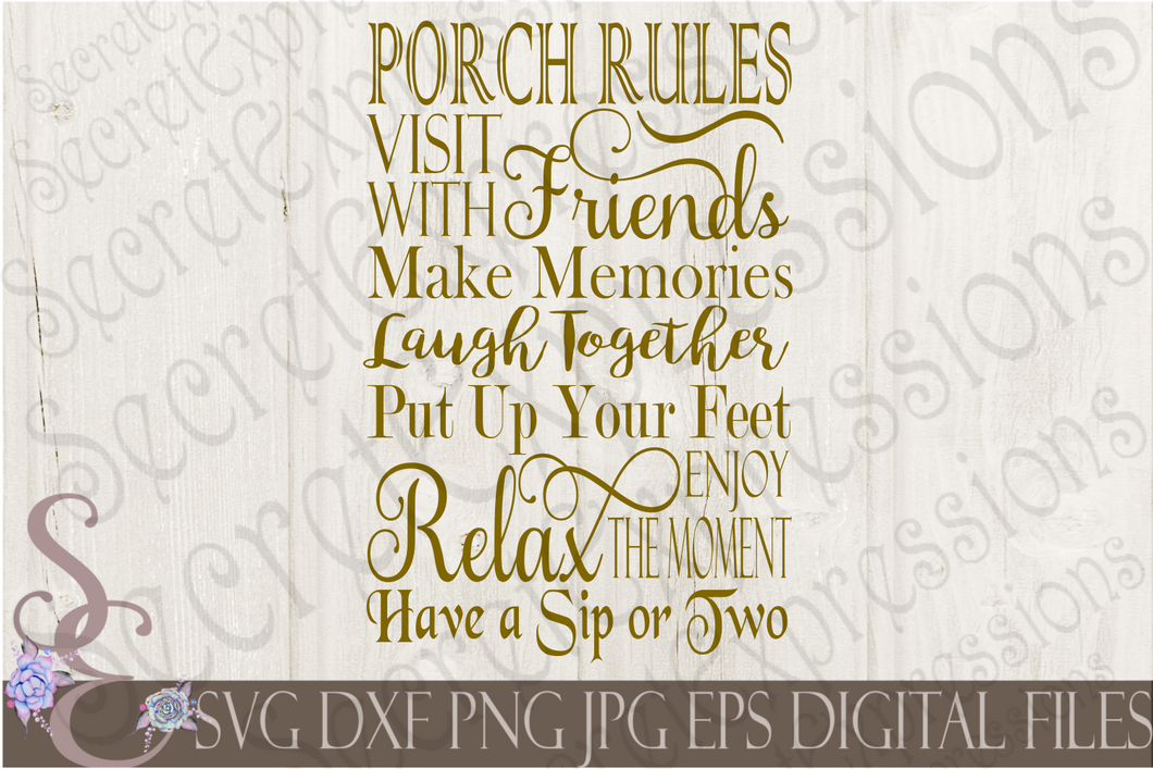 Porch Rules Svg, Subway Art Style Digital File, SVG, DXF, EPS, Png, Jpg, Cricut, Silhouette, Print File