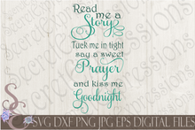 Read me a Story Svg, Digital File, SVG, DXF, EPS, Png, Jpg, Cricut, Silhouette, Print File