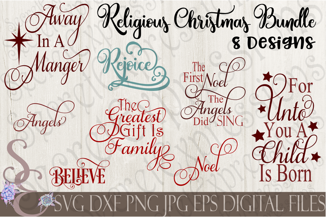 Religious Christmas SVG Bundle, 8 Digital File, SVG, DXF, EPS, Png, Jpg, Cricut, Silhouette, Print File