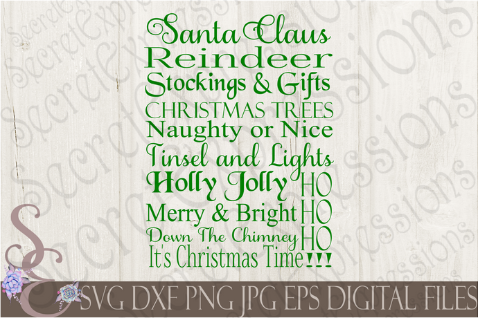 Santa Claus Christmas Subway Svg, Christmas Digital File, SVG, DXF, EPS, Png, Jpg, Cricut, Silhouette, Print File