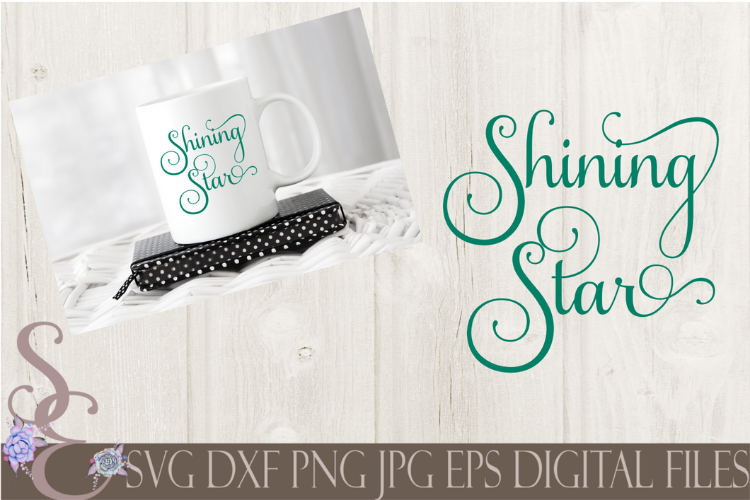 Shining Star Svg, Digital File, SVG, DXF, EPS, Png, Jpg, Cricut, Silhouette, Print File