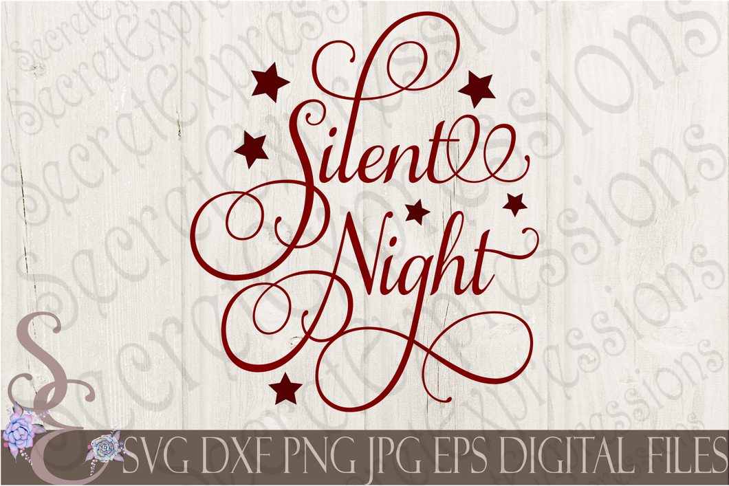 Silent Night Svg, Christmas Digital File, SVG, DXF, EPS, Png, Jpg, Cricut, Silhouette, Print File