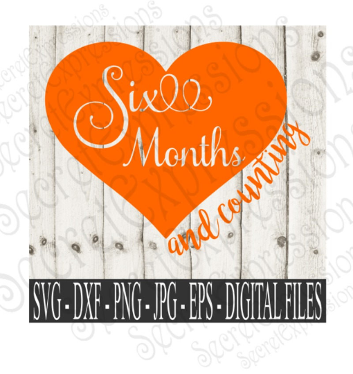 Six Month and Counting Svg, Digital File, SVG, DXF, EPS, Png, Jpg, Cricut, Silhouette, Print File