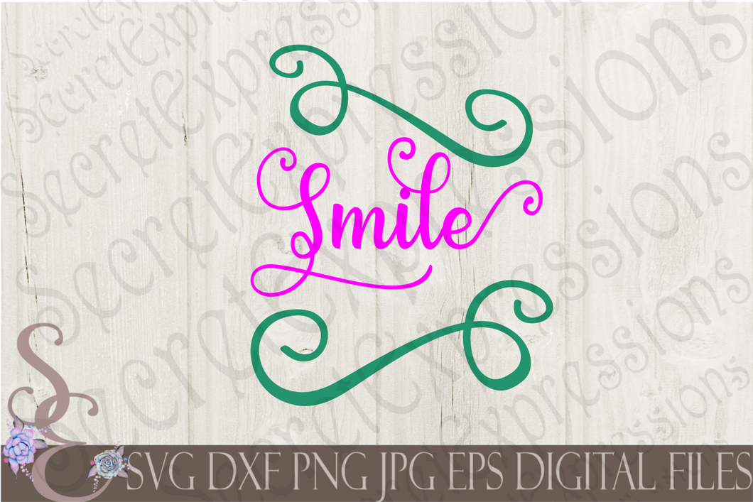 Smile Svg, Digital File, SVG, DXF, EPS, Png, Jpg, Cricut, Silhouette, Print File