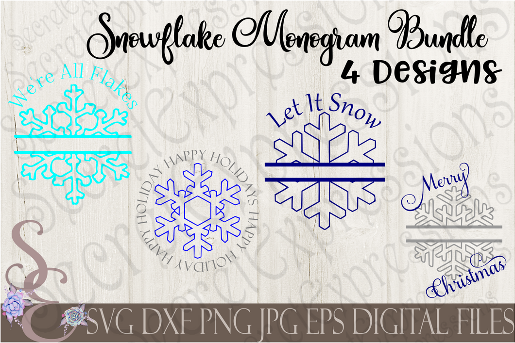 Split Snowflake Monogram Bundle Svg, Christmas Digital File, SVG, DXF, EPS, Png, Jpg, Cricut, Silhouette, Print File