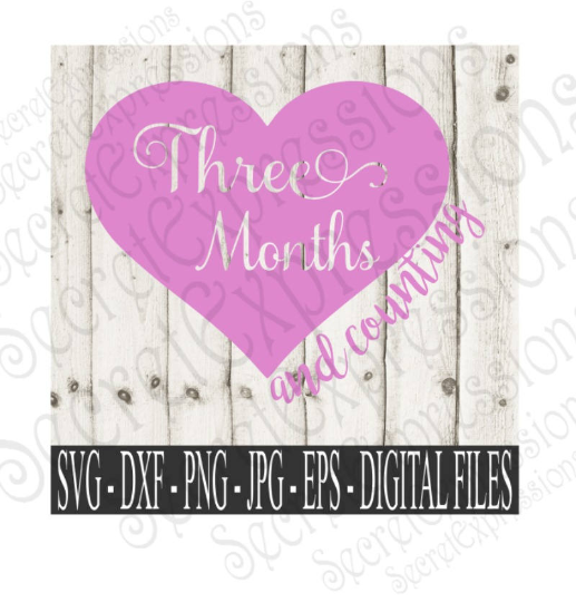 Three Month and Counting Svg, Digital File, SVG, DXF, EPS, Png, Jpg, Cricut, Silhouette, Print File